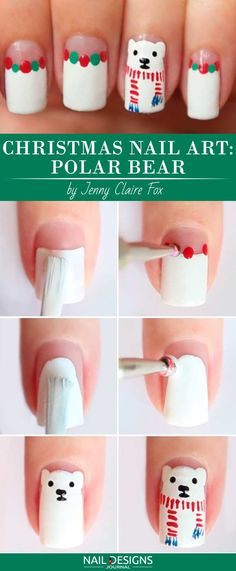 10 Charming Christmas Nail Art Tutorials You'll Adore: Christmas Nail Art: Polar Bear; Nail Art Noel, Xmas Nail Art, Xmas Nails, Winter Nail Art, Nail Art Diy, Cool Nail Art, Winter Nails, Holiday Nails, Diy Nails