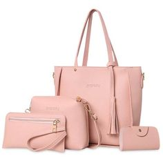 Tassel 4 Pieces Tote Bag Set ($21) ❤ liked on Polyvore featuring bags, handbags, tote bags, tote hand bags, tassel handbag, tassel purse, pink tote handbags and pink handbags