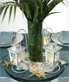 Good for a Hawaiian christmas party centerpiece with some lightweight ornaments hanging from palms.