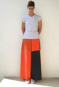 T Shirt Pants / Wide Leg / Palazzo / Black Orange Rust / by ohzie