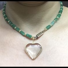 Beautiful unique Heart Necklace / Reduced Gorgeous Necklace in green stones with cute heart shape pendant !    Green chain is made or joined by 2 separate pieces / see pics for more detail. Jewelry Necklaces