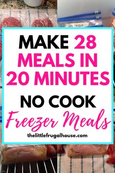 Get ahead and make some quick dinners for those busy nights! These no cook freezer meals are perfect for busy families! Get 28 meals made in 20 minutes! This easy freezer cooking plan will get your freezer stocked quick! Budget Freezer Meals, Make Ahead Freezer Meals, Cooking On A Budget, Freezer Cooking, Bulk Cooking, Budget Recipes, Frugal Meals, Freezer Dinner, Chicken Freezer Meals