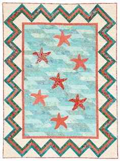 """Sea Stars"" from Happy Stash Quilts is featured in the June, 2016 issue of American Patchwork & Quilting."
