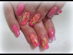 How to design acrylic nails on tips in neon pink and one stroke technique