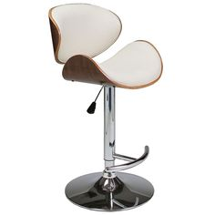 The Jojo Adjustable Stool has a simple yet elegant design perfect for any contemporary kitchen, bar, or entertaining space. This modern bar stool has a chrome base with a walnut veneer seat and back upholstered in your choice of black or ivory polyurethane. $199.00