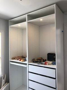Hacking the IKEA Pax into a Fully Custom Closet - Erin Kestenbaum Alcove Wardrobe, Ikea Wardrobe Hack, Ikea Pax Hack, Ikea Closet Hack, Closet Hacks, Wardrobe Storage, Wardrobe Wall, Closet Organization, Walk In Closet Ikea