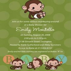 Ideas For Monkey Baby Shower Invitations - Monkey Themed Baby Shower Invitations | Bash Corner. CUTE!!