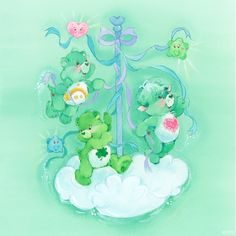 Care Bears and Cousins: Wish Bear, Good Luck Bear and Gentle Heart Lamb
