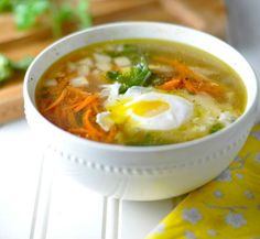 Low Carb Chicken Kale Soup with Poached Eggs is a perfect combination of carbs and protein. Perfect for Ketogenic, Paleo, Gluten Free and and Low Carb Diets.