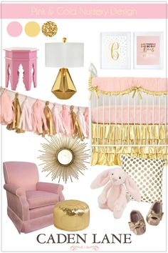 Pink and Gold Nursery Design - love this for a girly nursery! Caden Lane Bedding is amazing especially for a pink and gold nursery design.