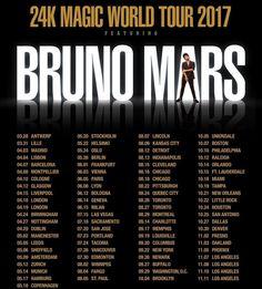 Bruno Mars announces 24K Magic World Tour 2017 + Album 24K Magic #BrunoMars #24KMagicWorldTour2017 #24KMagic