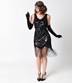 Vintage 1920s Style Black Sequin Beaded Deco Fringe Flapper Dress $78.00 AT vintagedancer.com