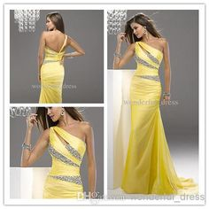 Wholesale Wedding Dress - Buy Yellow Beaded Long Bridesmaid Prom Formal Evening Dresses Cocktail Party Dress Ball Gown Dress AB0028, $77.7 | DHgate