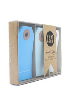 Blue Parcel Tag Trio - these would be lovely with silver wrapping paper.