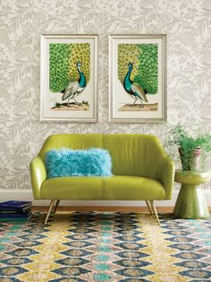 Bird illustration has been an important art form for centuries, rising to prominence in the Age of Reason, an era of exploration and discovery. Newly discovered species were documented and illustrated in remarkable and exquisite detail. This stunning example of a pair of Peacocks in full regalia fully embodies the royalty, protection and watchfulness that these incredible creatures are believed to symbolize. Bird Illustration, All Wall, Art Furniture, Peacocks, Colorful Decor, Art Forms, Discovery, Cool Designs, Royalty
