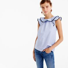 J. Crew Ruffle top in end-on-end cotton