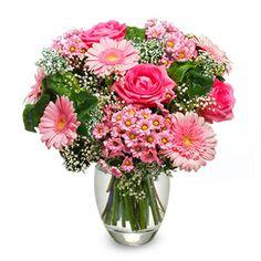 Te Deseo Felicidad: rosas, gerberas