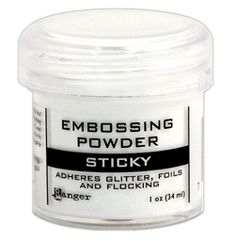 Tim Holtz recently demonstrated this and just waiting for it to come into stock to buy - *PREORDER Ranger STICKY EMBOSSING POWDER Emboss Industries EPJ35275