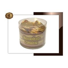 Chocolade munten in Koker (klein)  140 gram.  Smaak Melkchocolade. Te bestellen vanaf 250 stuks. #chocolade #muntjes