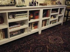 Threshold Horizontal bookshelves from Target - two units, side by side. For base of gallery wall in bedroom