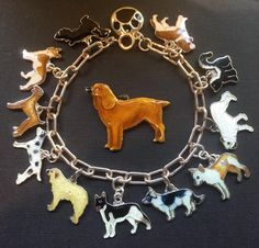 eCharmony Charm Bracelet Collection - Enamel Dogs - Vintage - Click Image to Close Inexpensive Jewelry, Cheap Jewelry, Wedding Jewelry Sets, Wedding Ring Bands, Key Jewelry, Jewellery, Pearl Jewelry, Vintage Charm Bracelet, Charm Bracelets