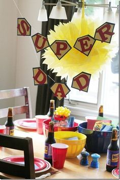 I've thought I would do a Super Dad themed Father's Day one of these year. day dinner decorations our super dad. Fathers Day Crafts, Happy Fathers Day, Fathers Day Brunch, Fathers Day Dinner Ideas, Fathers Day Banner, Holiday Crafts, Holiday Fun, Superhero Gifts, Superhero Ideas