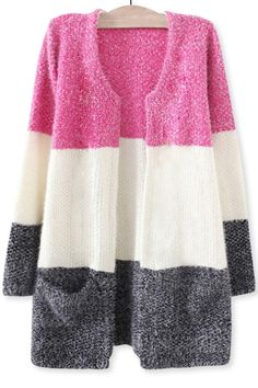 Longline Colorblocked Mohair Cardigan