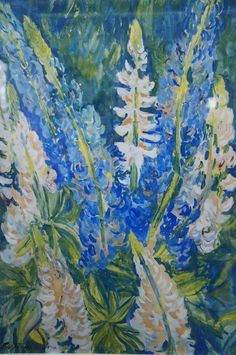 'Blue and White Lupins' signed Jacob EPSTEIN (1880-1959) C. 1940. Offered by John Robertson Fine Paintings at The Edenbridge Galleries, Kent. www.edenbridgegalleries.com