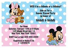 Baby Minnie & Mickey Gender Reveal/Twins Baby Shower