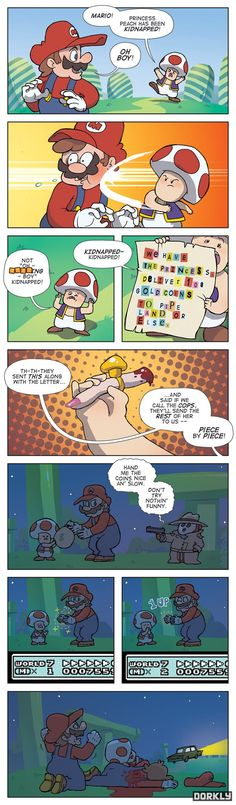 """""""Not Another Castle"""". Things get real in the Mushroom Kingdom. // Via Dorkly.com."""