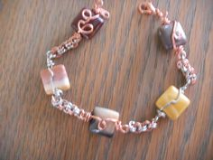 two toned wire and stone bracelet