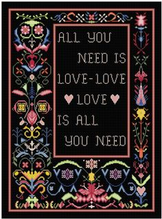 All You Need is Love in floral frame for Cross stitch by Whoopicat, $6.00