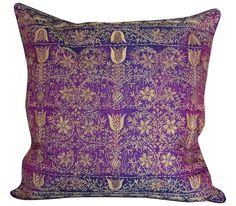 Purple Silk Embroidered Pillow on Chairish.com
