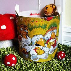 Vintage Wombles Fabric Toy Storage Tub by Auntie Mims, the perfect gift for Explore more unique gifts in our curated marketplace. Storage Tubs, Storage Buckets, Toy Storage, Plain Canvas, Fabric Toys, Puzzle Pieces, Inspired Homes, Kids Toys, Unique Gifts