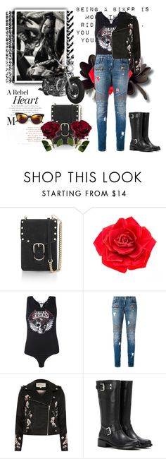 """""""Biker at heart"""" by krystalkm-7 ❤ liked on Polyvore featuring Rebecca Minkoff, Johnny Loves Rosie, Boohoo, Balmain, River Island and Calvin Klein Jeans"""