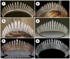Classic fringe tiaras: (1) Princess Mary's Fringe, formerly the property of Mary, the Princess Royal and Countess of Harewood.  (2) Princess Marie-Chantal's Fringe, from the Greek royal family. (3) Habsburg Fringe, from the Liechtenstein princely family. (4) Queen Mary's Fringe, from the British royal family. (5) Kent City of London Fringe, now worn by Princess Michael of Kent. (6) A fringe formerly belonging to Queen Maria of Yugoslavia.