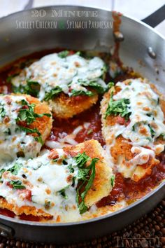 20 Minute Skillet Chicken and Spinach Parmesan is the perfect dinner recipe for any week night! Easy and delicious! | MomOnTimeout.com