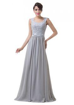 Bodenlanges Abendkleid mit Schulterträgern in Grau-Silber