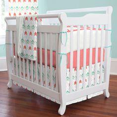 Coral and Teal Arrow Girl Mini Crib Bumper
