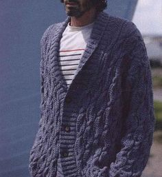 Men's cardigan with collar. Free knitting pattern   Free knitting patterns