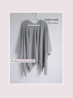 This beautiful shrug is soft and lightweight. Very versatile and perfect cover up for between seasons. This shrug can be worn as scarf. Ideal for travel it fits and folds easily into your handbag. Long Shrug, Cashmere Poncho, Womens Scarves, Custom Made, Knitwear, Cover Up, Pure Products, Trending Outfits, Seasons