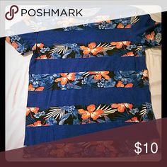 Rue 21 t-shirt Blue with pink flowers shirt, good condition Rue 21 Shirts Tees - Short Sleeve