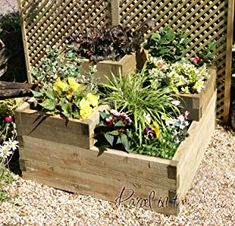 Raised Bed Planter Wooden Timber Grow your own Vegetables Garden Allotment (3 Tier Raised Bed)