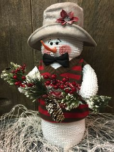 Handmade Snowman Doll Winter Snowman by TheCraftedSnowman on Etsy