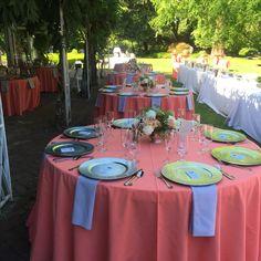 #coral #coralwedding #coralgrey #wedding #weddingcatering #lakewoldgardens #gardenwedding #silverchargerplate #chargerplate #weddin #weddingcatering #catering #weddingsetup