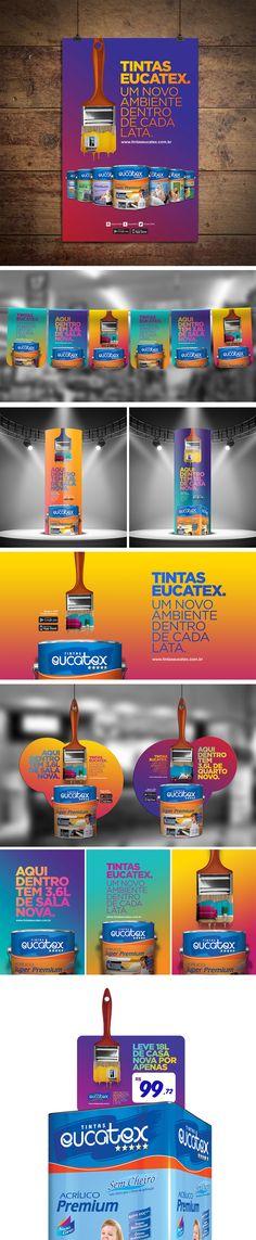 Merchandising Tintas Eucatex A nova campanha de Tintas Eucatex contou com o apoio indispensável do material de merchandising. As lojas receberam bandeirolas, cartazes, displays lama e faixas, entre outros; tudo com a identidade visual fresquinha da nova campanha.