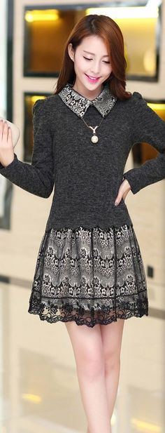 Cashmere and Lace Long Sleeve Dress YRB0315 £15.80