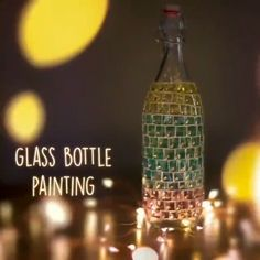 A very artistic painting on a glass bottle 💖 By: ventunoart bottle crafts videos Glass Bottle Painting Beer Bottle Crafts, Wine Bottle Art, Beer Bottle Glasses, Wine Bottle Lanterns, Wine Glass, Glass Art, Glass Painting Patterns, Glass Painting Designs, Painted Glass Bottles