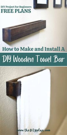 A towel bar is a good option if you have a lot of wall space near a tub or a shower. Here is a tutorial on how to repair a drywall hole and make a new DIY wooden towel bar for the bathroom. #diybathroom #bathroomdecor #towelbar #homeimprovements #woodproject