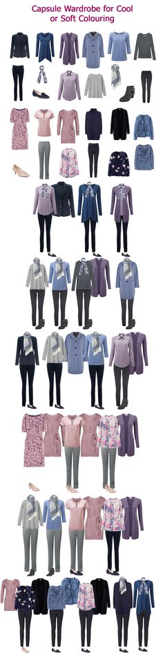 Example capsule wardrobe for Soft or Cool colouring